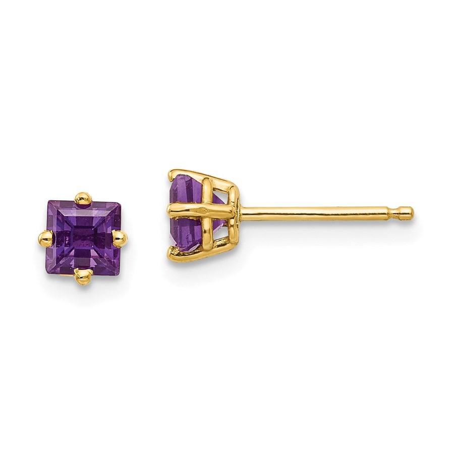 14k 4 mm Princess Cut Amethyst Earrings