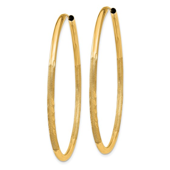 14k 40 mm Satin Diamond-cut Endless Hoop Earrings