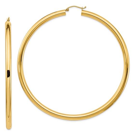 14k 4mm Polished Hoop Earrings - 82 mm