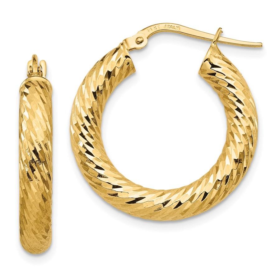 14K 4x15 D/C Round Hoop Earrings - 24.41 mm