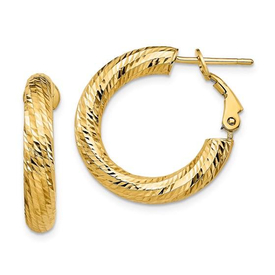 14K 4x15 D/C Round Omega Back Hoop Earrings - 23.15 mm