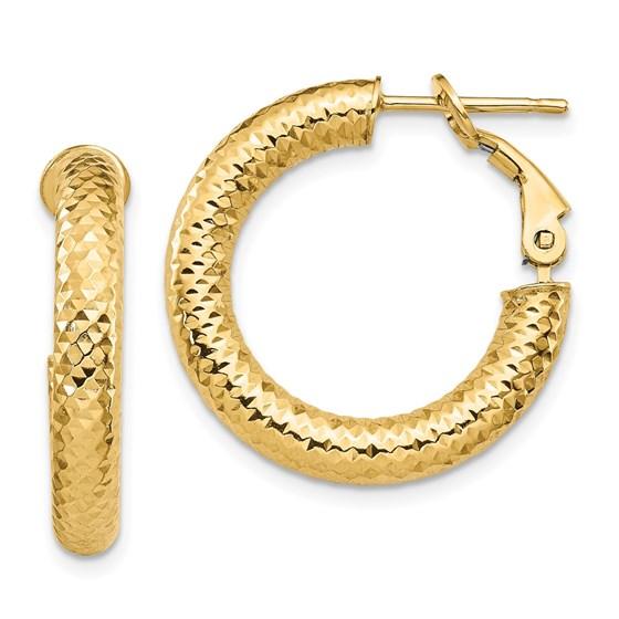 14K 4x15 D/C Round Omega Back Hoop Earrings - 23.24 mm