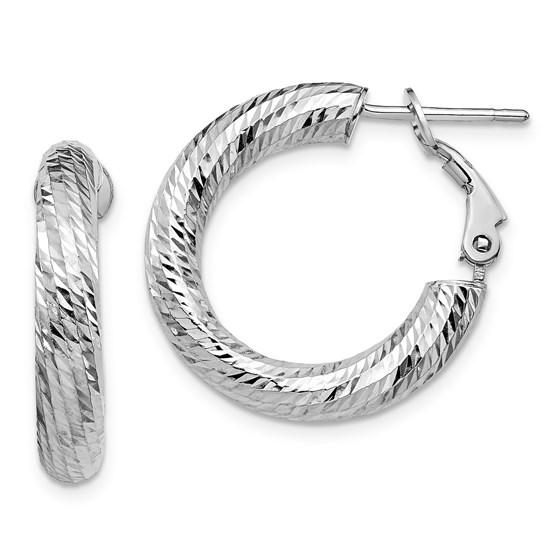 14K 4x15 White Gold D/C Round Omega Back Hoop Earrings - 23.15 mm