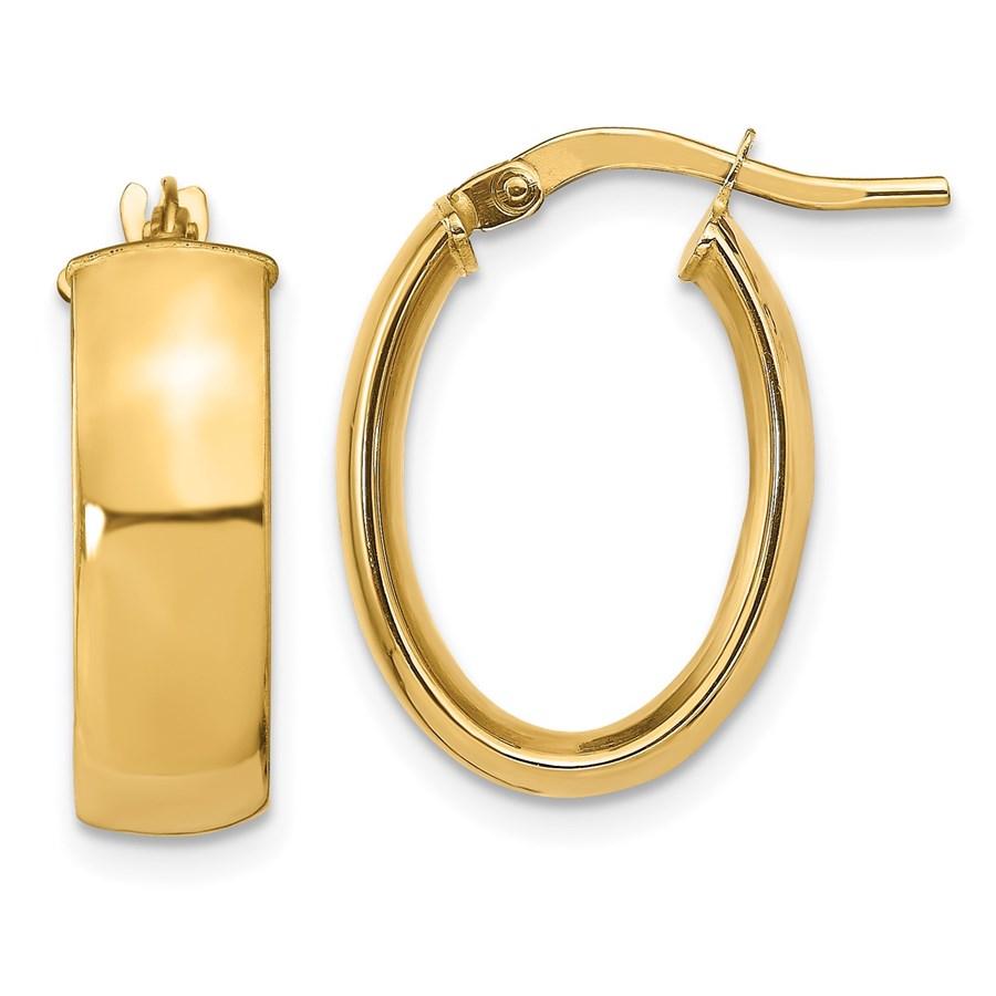 14K 5.75mm Polished Oval Hoop Earrings - 19.8 mm