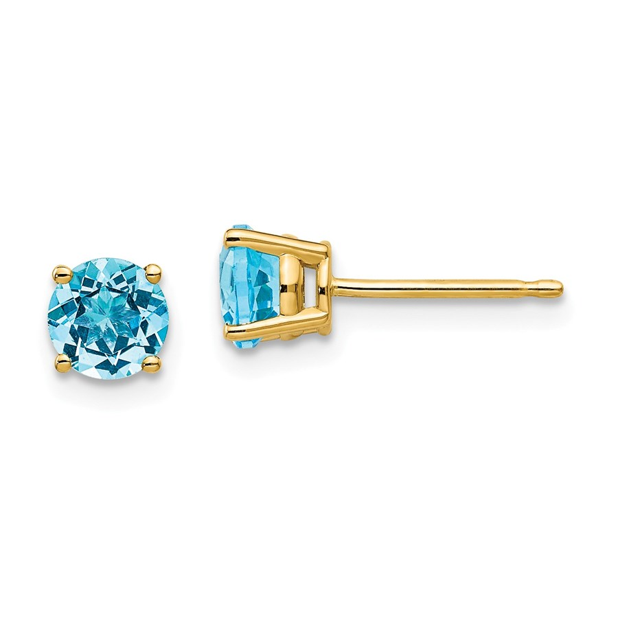 14k 5 mm Blue Topaz Earrings