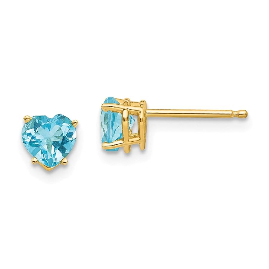 14k 5 mm Heart Blue Topaz Earrings