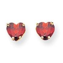 14k 5 mm Heart Garnet Earrings