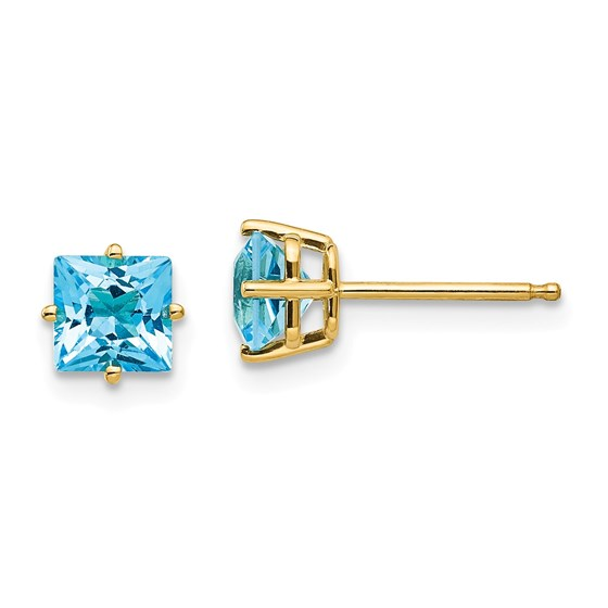 14k 5 mm Princess Cut Blue Topaz Earrings