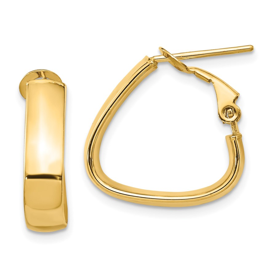 14K 5mm High Polished Triangle Omega Back Hoop Earrings - 22.5 mm