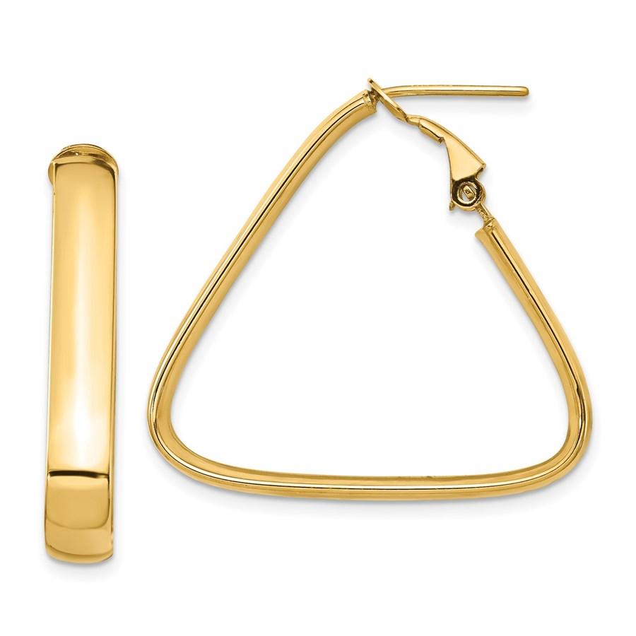 14K 5mm High Polished Triangle Omega Back Hoop Earrings - 30 mm