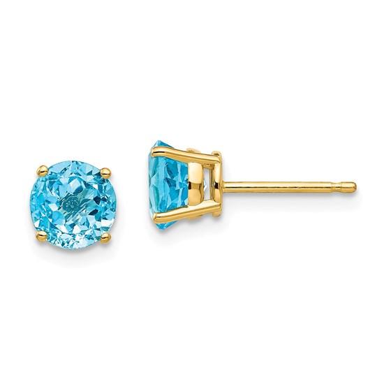 14k 6 mm Blue Topaz Earrings