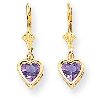 14k 6 mm Dangle Heart Amethyst Post Earrings
