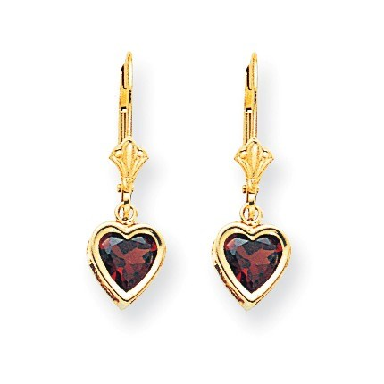 14k 6 mm Dangle Heart Garnet Earrings