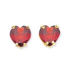 14k 6 mm Heart Garnet Earrings