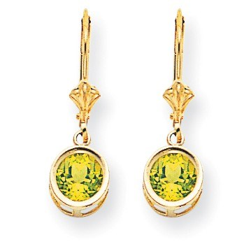 14k 6 mm Peridot Leverback Earrings