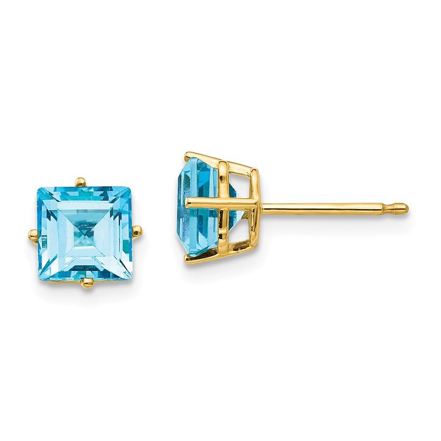 14k 6 mm Princess Cut Blue Topaz Earrings