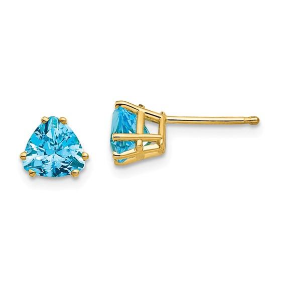 14k 6 mm Trillion Blue Topaz Earrings