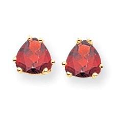 14k 6 mm Trillion Garnet Earrings