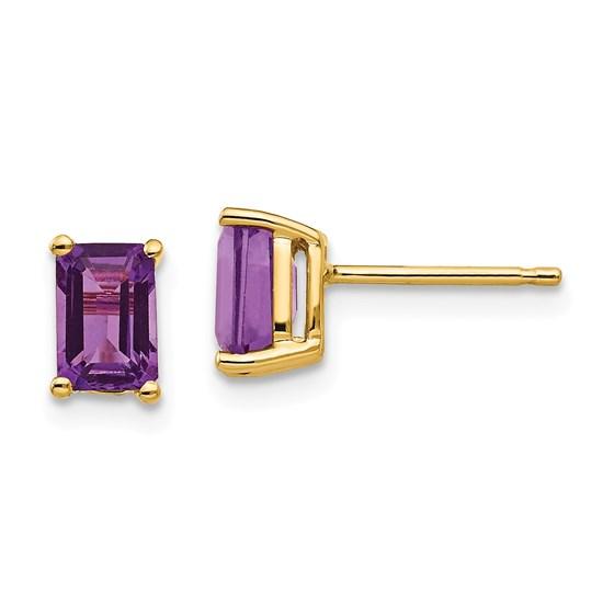 14k 6x4 mm Emerald Cut Amethyst Earrings