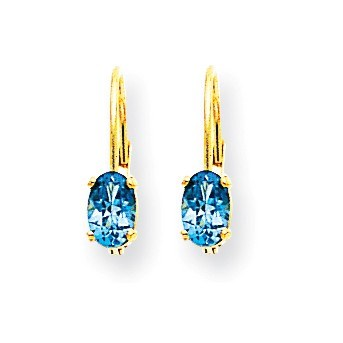 14k 6x4 mm Oval Blue Topaz Leverback Earrings