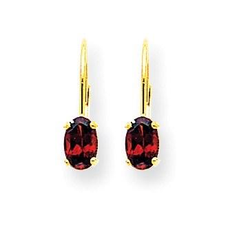 14k 6x4 mm Oval Garnet Leverback Earrings