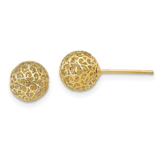14K 7.75MM Filigree Ball Post Earrings - 7.75 mm