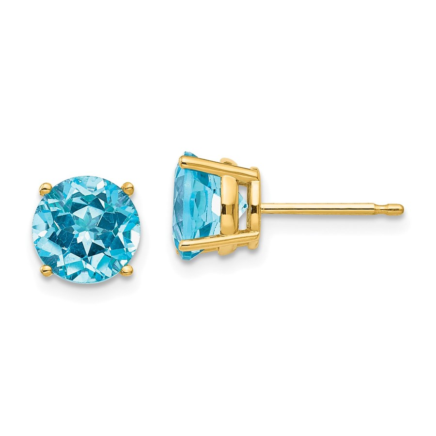 14k 7 mm Blue Topaz Earrings