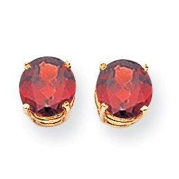 14k 7 mm Garnet Post Earrings