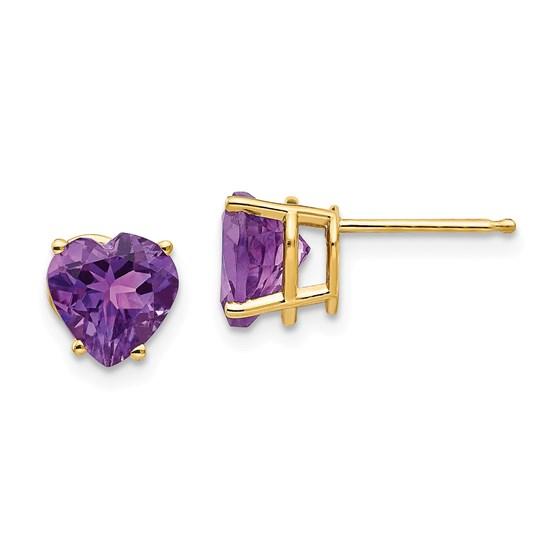 14k 7 mm Heart Amethyst Earrings