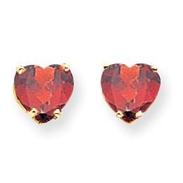 14k 7 mm Heart Garnet Earrings