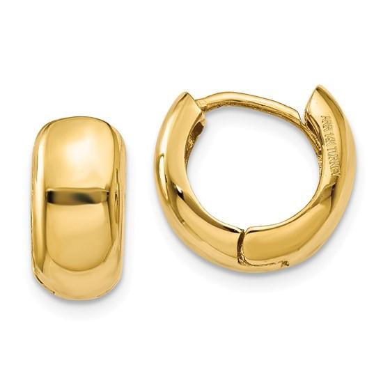 14k 7 mm Hinged Hoop Earrings