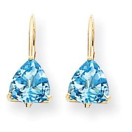 14k 7 mm Trillion Blue Topaz Leverback Earrings