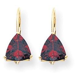 14k 7 mm Trillion Garnet Leverback Earrings