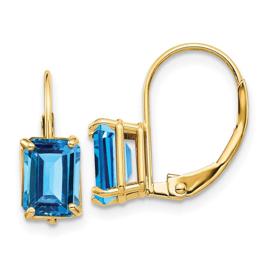 14k 7x5 mm Emerald Cut Blue Topaz Leverback Earrings