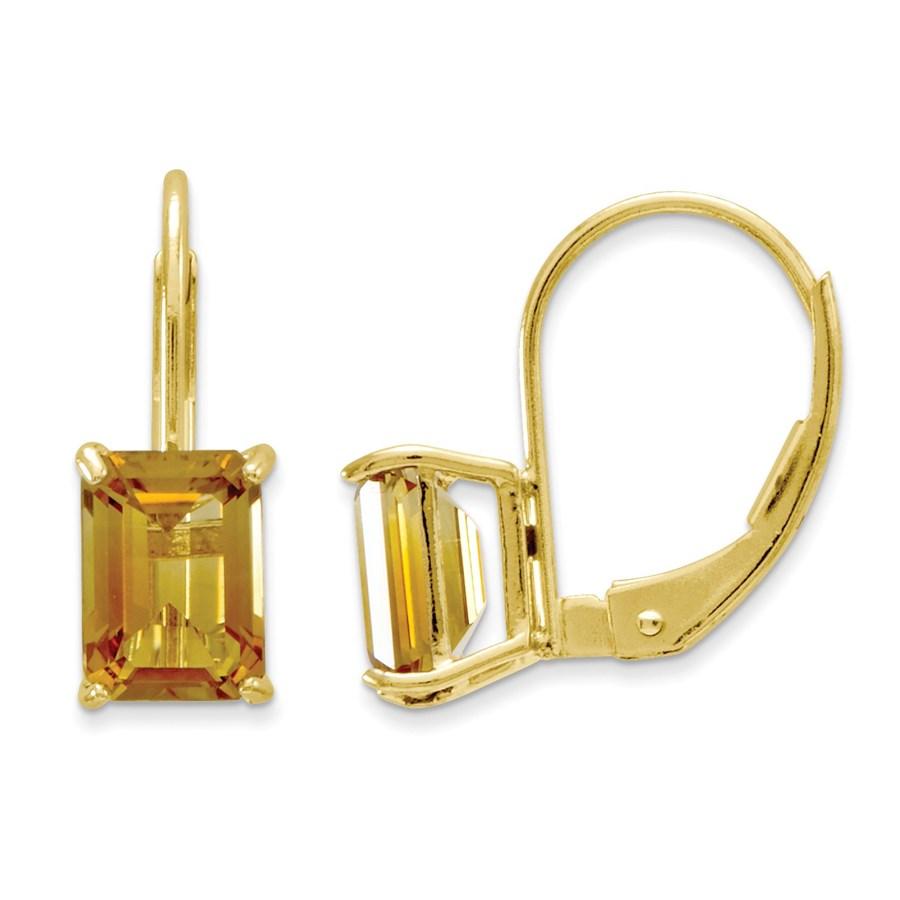 14k 7x5 mm Emerald Cut Citrine Leverback Earrings