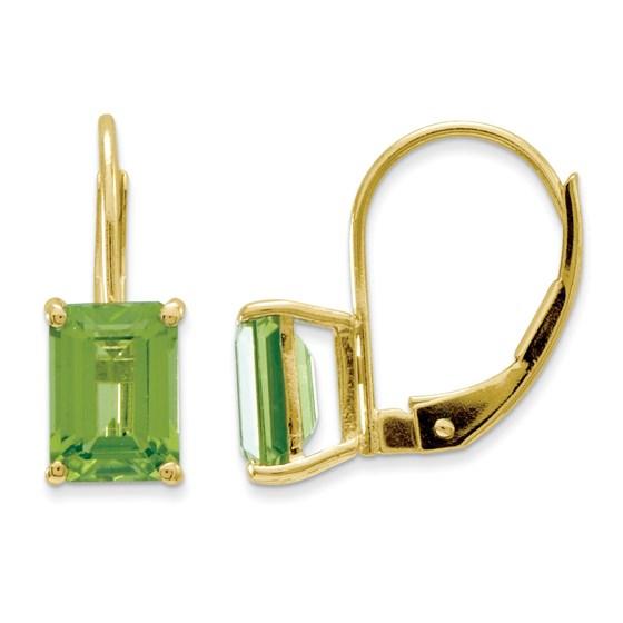 14k 7x5 mm Emerald Cut Peridot Leverback Earrings