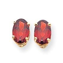 14k 7x5 mm Oval Garnet Earrings