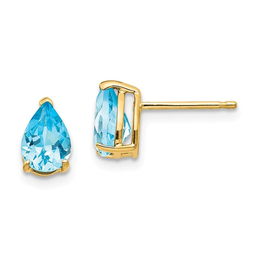 14k 7x5 mm Pear Blue Topaz Earrings