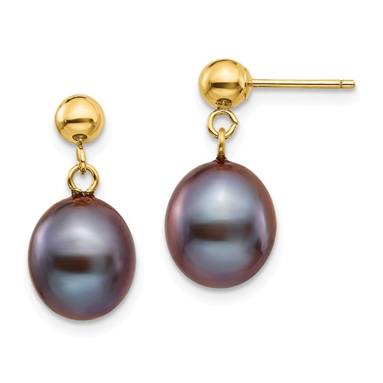 14k 8-9 mm Black Cultured Pearl Dangle Earrings