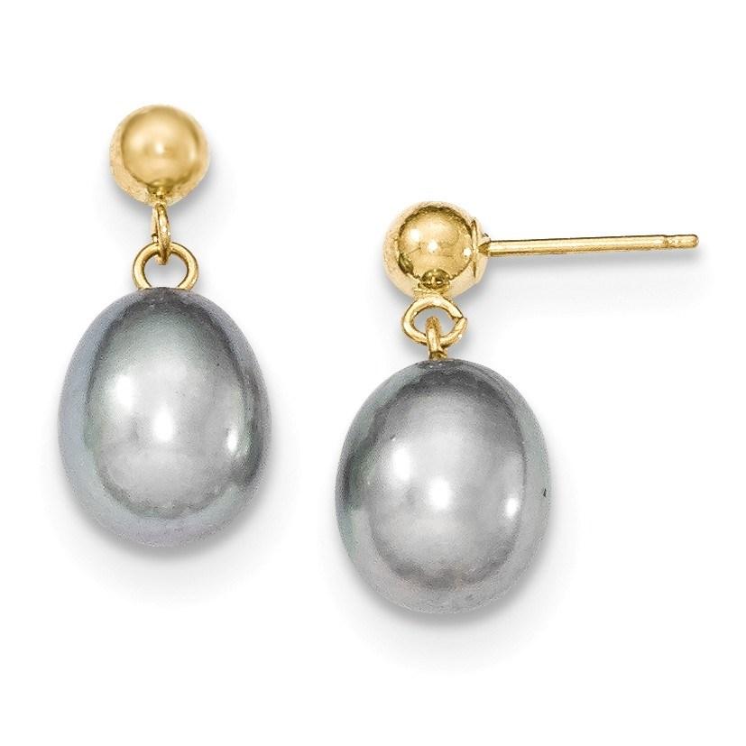 14k 8-9 mm Grey Cultured Pearl Dangle Earrings