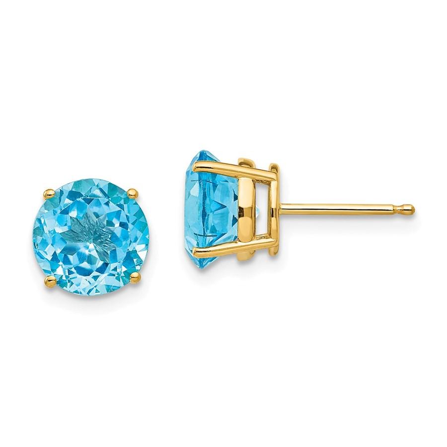 14k 8 mm Blue Topaz Post Earrings
