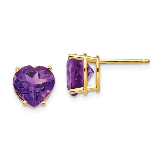 14k 8 mm Heart Amethyst earring