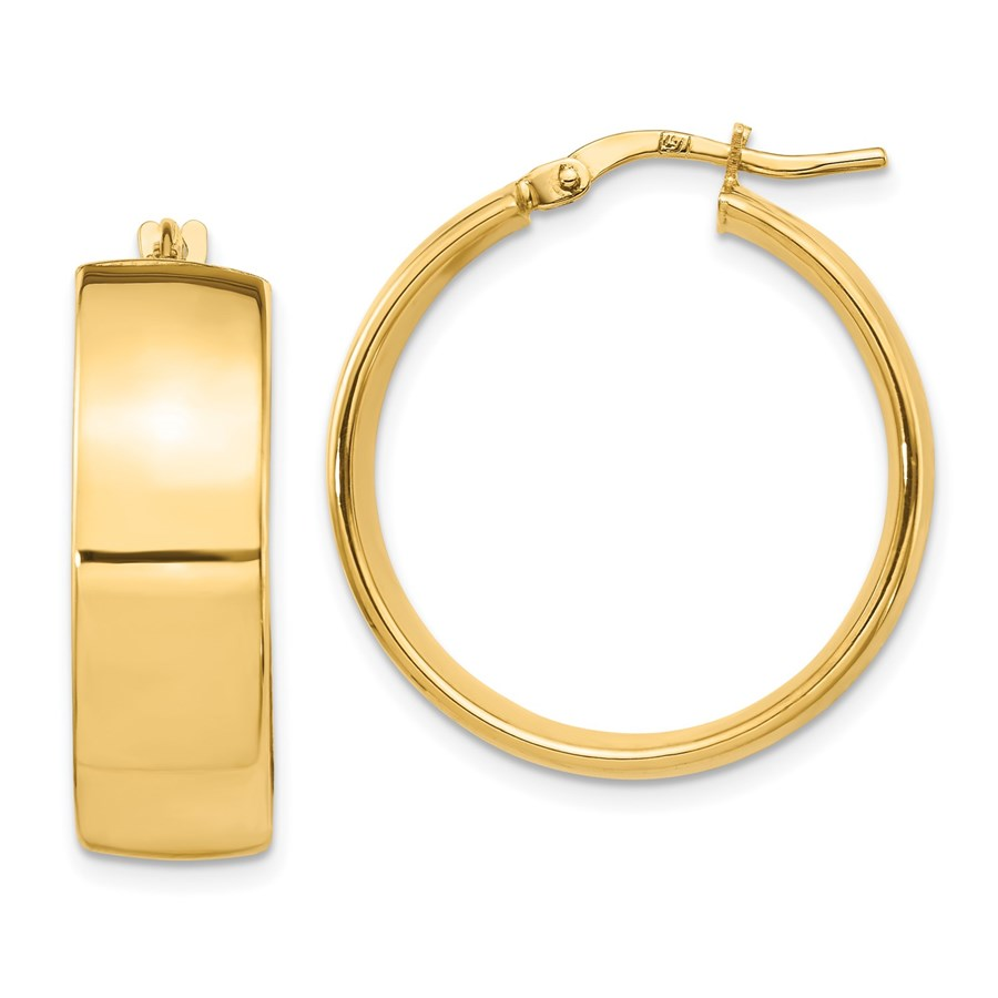 14K 8mm High Polished Hoop Earrings - 25 mm