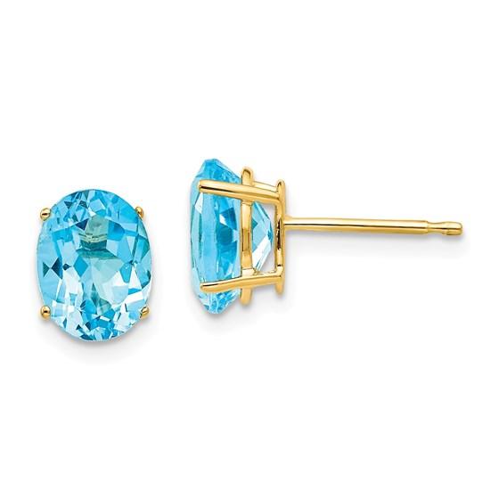 14k 8x6 mm Oval Blue Topaz Earrings