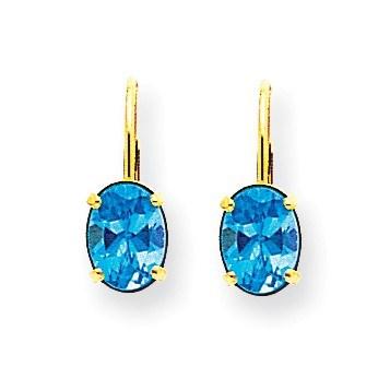 14k 8x6 mm Oval Blue Topaz Leverback Earrings