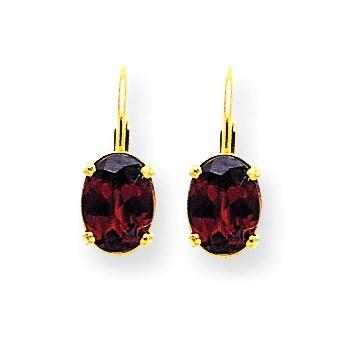 14k 8x6 mm Oval Garnet Leverback Earrings