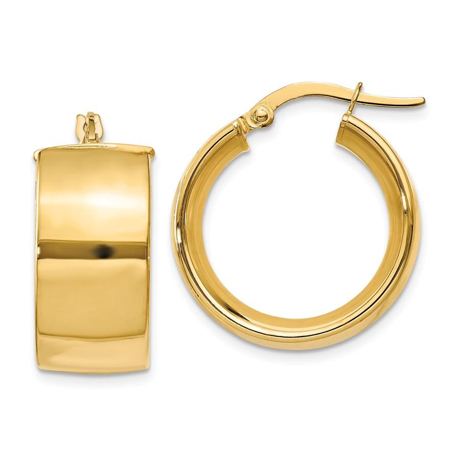 14k 9.75 mm Polished Round Hoop Earrings