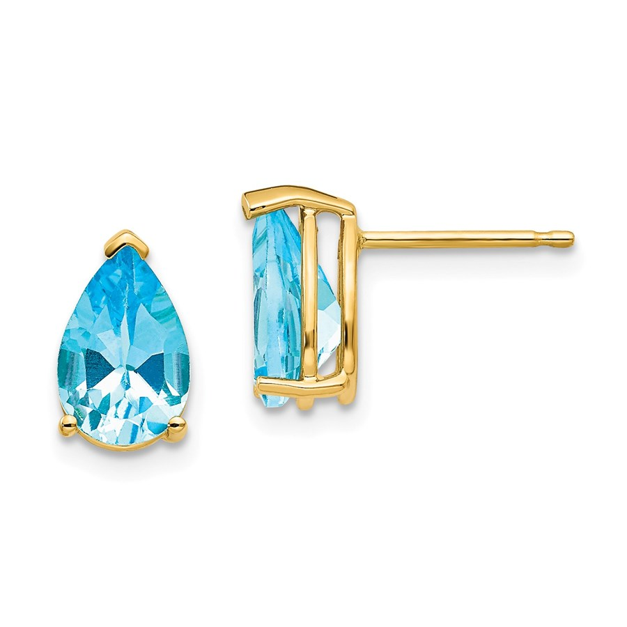 14k 9x6 mm Pear Blue Topaz Earrings