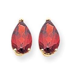 14k 9x6 mm Pear Garnet Earrings
