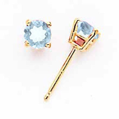 14k Aquamarine Post Earrings